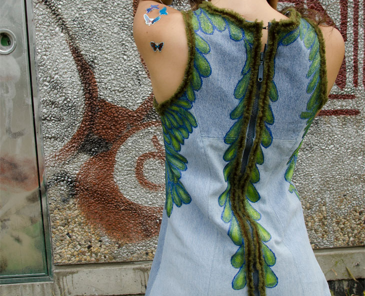 hand made and handpainted denim dress