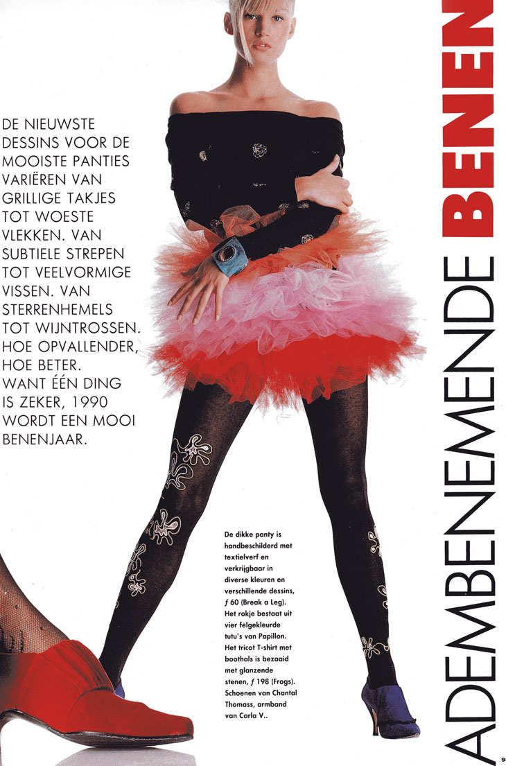 "handpainted tights ""Break a Leg!"" in de ELLE"