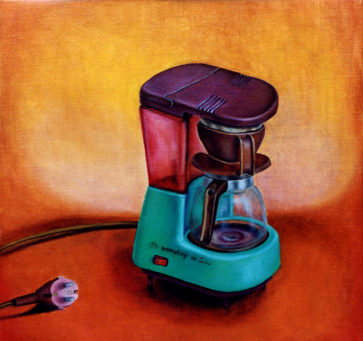 oil painting of a coffee machine by Pixelpolly