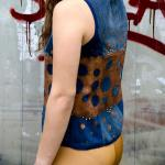 Recycled denim Vest bubbles golden paint buds and decorative ribbon