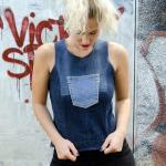 Upcycled denim vest with front pocket