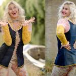 Upcycled denim long top with crochet pink-yellow sleeves