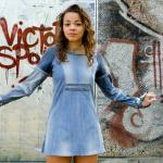 Upcycled denim mini dress with long sleeves