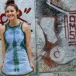 Hand painted denim dress