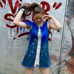 Upcycled denim long top with fake hair collar and jewelry closure