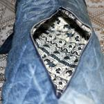 Denim pillow bag with batik lining