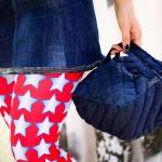 Denim square hand bag quilted