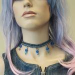 Blue denim choker with dice beads
