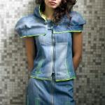 Denim 2 piece with little cape and punky stitches Arrow