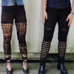 Crochet, knitted & knotted black leggings