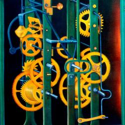 Oil on canvas clock mechanism
